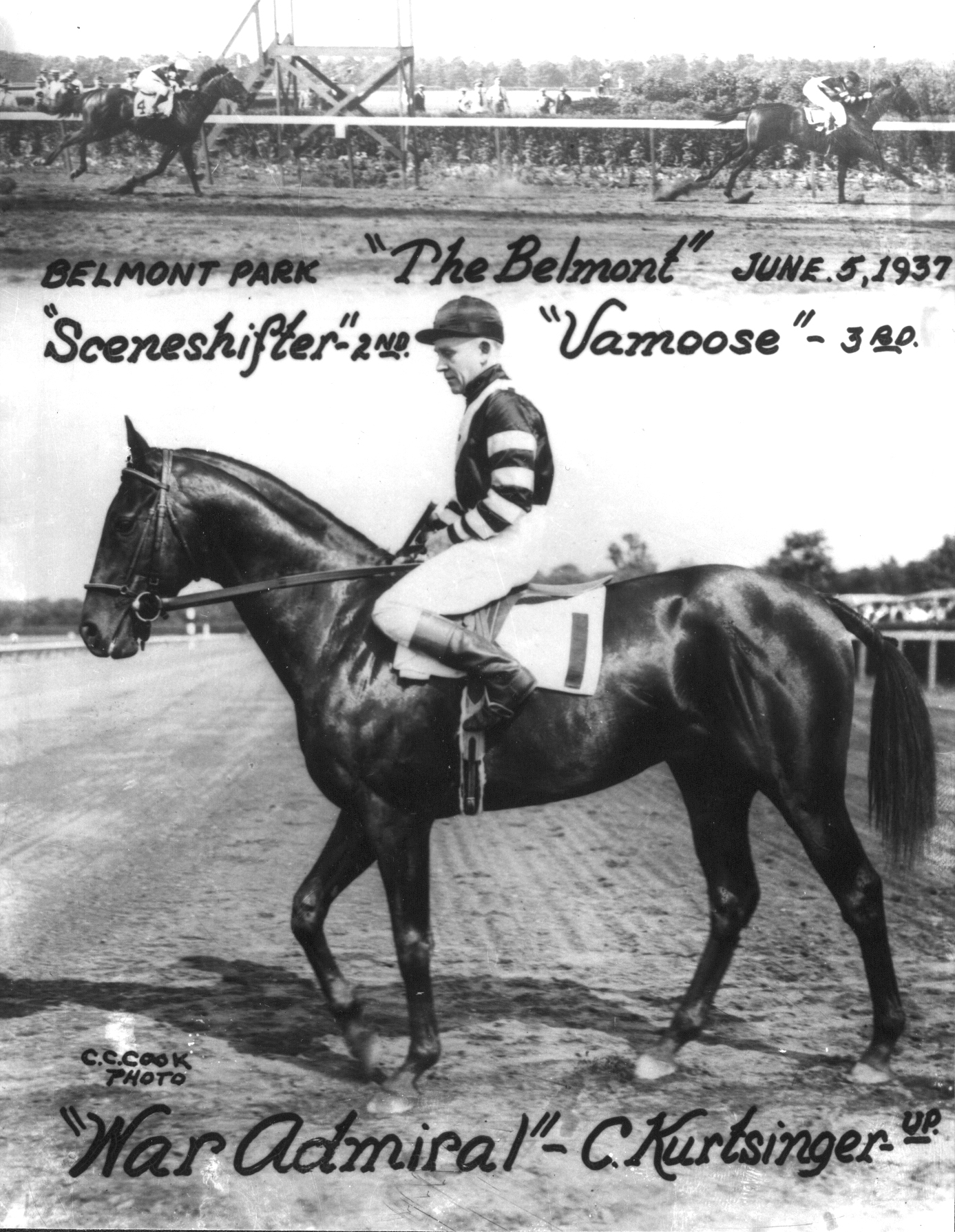 Keeneland Library Cook Collection - 5877 - 6.5.1937 War Admiral, C Kurtisnger up, at Belmont Stakes